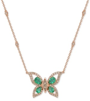 "LeVian Le Vian Costa Smeralda Emerald (1-5/8 ct. t.w.) & Diamond (1-1/10 ct. t.w.) Butterfly 18"" Pendant Necklace in 14k Rose Gold"