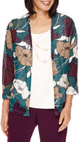 Alfred Dunner 3/4-Sleeve Floral-Print Layered Top