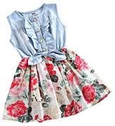 Mingao Little Girls Denim Flowerl Print Sleeveless Skirt Dresses