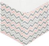 American Baby Company 100% Cotton Crib Skirt - Pink/Gray Zigzag