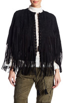 Haute Hippie Step Leather Fringe Poncho