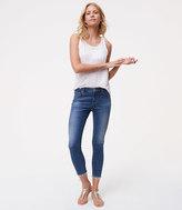 LOFT Petite Modern Frayed Skinny Ankle Jeans in Bright Mid Indigo Wash