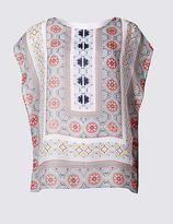 Classic Mosaic Print Round Neck Cap Sleeve T-Shirt