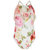MonnaLisa MonnalisaIvory & Pink Rose Swimming Costume