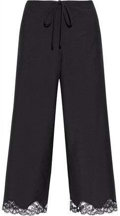 Alexander Wang Cropped Lace-Trimmed Wool-Blend Wide-Leg Pants