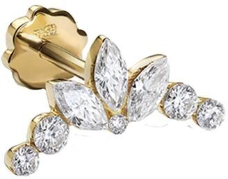 Maria Tash Invisible Set Diamond Lotus Garland Thread Through Yellow Gold Single Earring