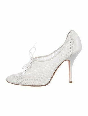 Pierre Hardy Mesh Round-Toe Pumps White
