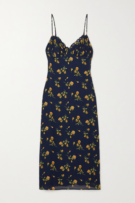 Reformation Fawn Floral-print Crepe Midi Dress - Navy