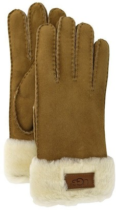 UGG TURN CUFF GLOVE - CHESTNUT, LARGE