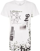 River Island Boys white NYC collage print t-shirt