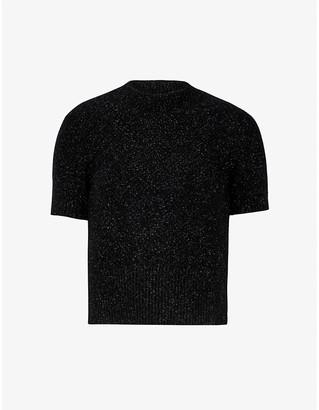 Sandro Funnel-neck metallic knitted top