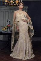 Janique - Embroidered Sweetheart Lace Evening Gown with Sheer High-Low Shawl W1718