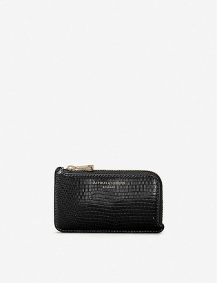 Aspinal of London Lizard-embossed zipped leather coin purse
