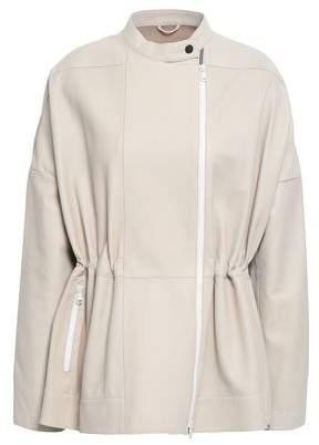Brunello Cucinelli Knit-paneled Leather Jacket