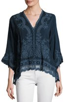 Johnny Was Embroidered V-Neck Blouse, Petite