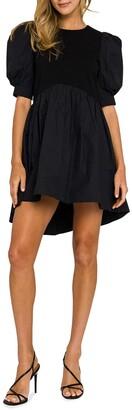 ENGLISH FACTORY High-low Knit Combo Mini Dress