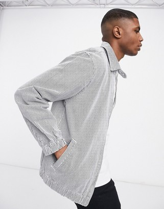 ASOS DESIGN denim harrington jacket in white pinstripe