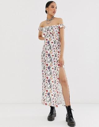 Bardot New Girl Order midi tea dress in tattoo print-White