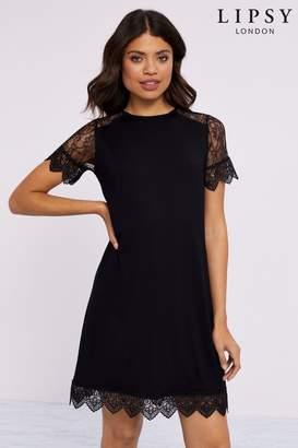 Lipsy Guippure Lace Shift Dress - 6 - Black
