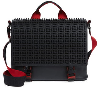 Christian Louboutin Loubouclic Spiked Leather Messenger Bag