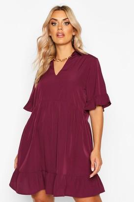 boohoo Plus Shirt Ruffle Smock Dress