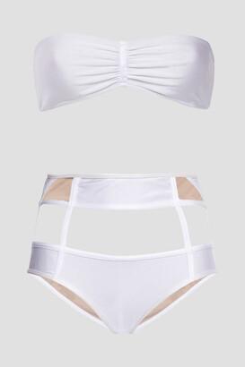 Adriana Degreas Cutout Gathered Tulle-paneled Bandeau Bikini
