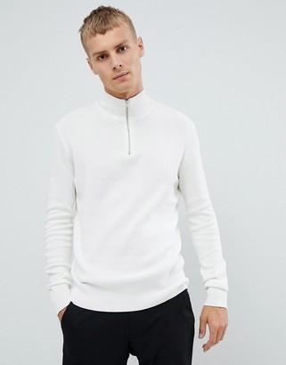 ASOS DESIGN midweight half zip sweater in white