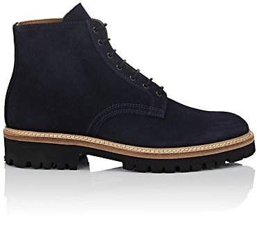 Barneys New York Men's Suede Lace-Up Boots - Navy