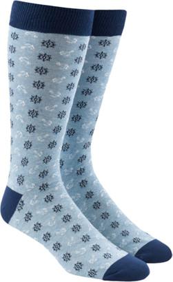 Tie Bar Wheel And Anchor Light Blue Dress Socks