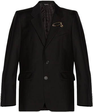 Givenchy 2 Button Notch Lapel Jacket with Pin in Black | FWRD