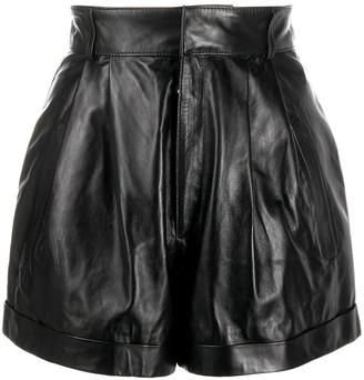 Manokhi High-Waist Leather Shorts