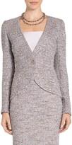St. John Textural Pastel Tweed Knit V-Neck Jacket