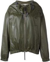 Marni drawstring neck jacket - women - Silk/Leather - 38