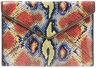Rebecca Minkoff Leo Zip-embellished Snake-effect Leather Clutch