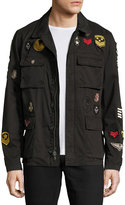 John Varvatos Mid-Length Admiral Patch Jacket, Charcoal