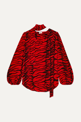 Rixo Moss Pussy-bow Tiger-print Silk-crepe Blouse - Red