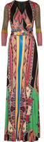 Etro Wrap-effect Printed Silk-jersey Maxi Dress - Black