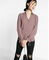 Express Slim Fit No Pocket Cinched Cuff Portofino Shirt