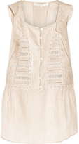 Vanessa Bruno Devon lace-paneled cotton-blend voile top