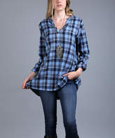 Lily Blue & Navy Plaid Flannel Notch Neck Tunic - Plus Too