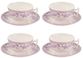 Spode Delamere Bouquet Teacups and Saucers (Set of 4)