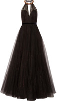 Jenny Packham Embellished Glittered Tulle Gown - Black