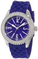 Freelook Women's HA5339-6 Blue Silicone Band Blue Face Swarovski Bezel Watch