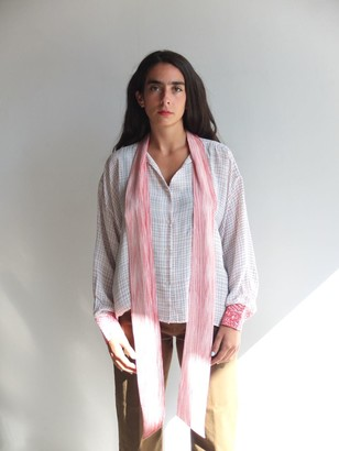 MII Red and Blue Silk Shirt - one size fits all
