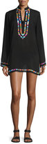 Nanette Lepore Mambo Embroidered-Trim Long-Sleeve Tunic Coverup