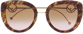 Fendi Eyewear FF-print oversized-frame sunglasses