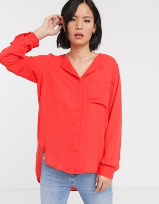 Selected Dynella long sleeve shirt-Red
