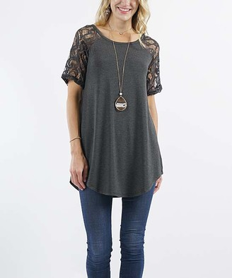 Lydiane Women's Tunics CHARCOAL - Charcoal Crewneck Lace-Sleeve Curved-Hem Tunic - Women