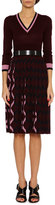 Bottega Veneta 3/4-Sleeve Pleated-Skirt Wool V-Neck Dress, Multicolor