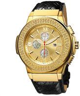 JBW Saxon Mens 1/6 CT. T.W. Diamond Black Leather Strap Watch JB-6101L-J